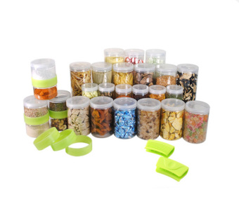 Harga Silicook Stacking Ring + 27 Pieces of Subdivision Round Food Container for Storage in Refrigerator(Fridge). Total Set.