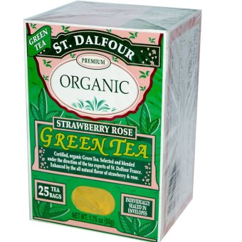 Harga St. Dalfour, Organic, Strawberry Rose Green Tea