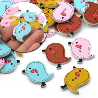 Harga BU 50 Cute 2 Holes Wooden Vivid Colourful Bird Buttons for Crafting & Sewing - intl