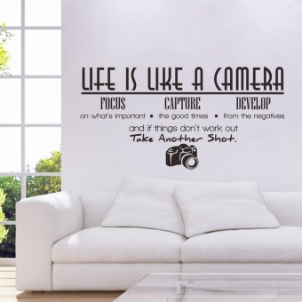 Harga Life Is like a Camera Quote Wall Stickers Home Decals Decoration Diy Vinyl Room