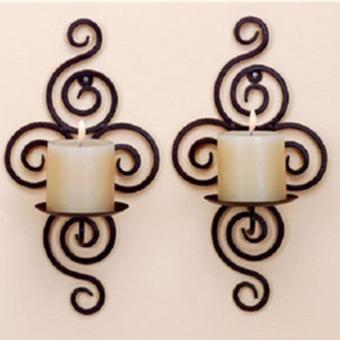 Harga 2 Pcs Wholesale Handmade Iron Hanging Wall Sconce Candle Holder Shelf Furnishing Articles - intl