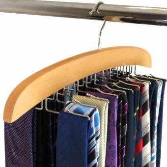 Harga Natural Beech Wood Single Wooden Tie Hanger Organiser Rack - Holds 24 Ties - intl