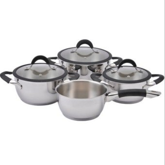 Harga LAMART Style Stainless Steel Cookware set with silicone rim