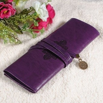 Harga Retro Vintage Roll PU Leather Make up Cosmetic Pen Pencil Case Pouch Purse Bag - intl