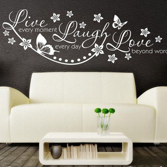 Harga Hequ 2016 Live Love Laugh Wall Quote Sticker Art Decor Removable PVC Home Decoration Butterfly Pattern White - Intl