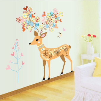 Harga Deer creative removable wall stickers living room sofa background wall stickers bedroom warm personality entrance sticker adhesive