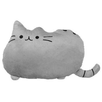 Plush Big Cookie Cat Shape Throw Pillow Back Cushion Sofa Seat Toy Doll Home Decoration Gift (Grey)