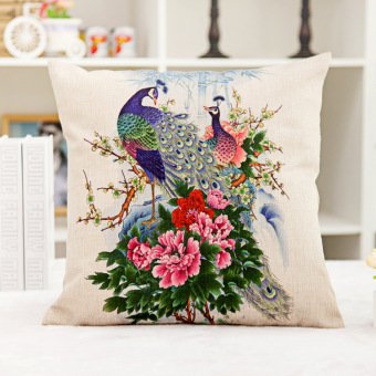 Harga The Peacock Printing Office Flax Car Cushion Cover Household Nap Pillow Cover