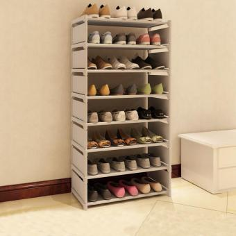 Harga 8 Layer Simple Shoe Storage Rack Dustproof Shoe Cabinet Shoes Organizer Stand Shelf 120*60*30cm