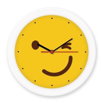 Harga Blink Smile Yellow Cute Lovely Online Chat Emoji Illustration Pattern Silent Non-ticking Round Wall Decorative Clock Home Decal - intl