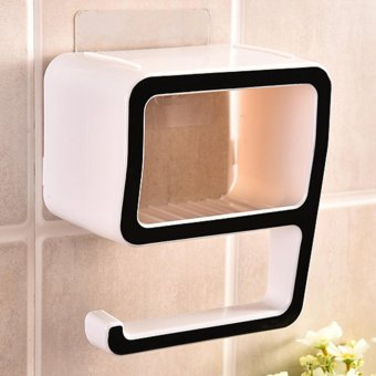 Creative Bathroom Organizer Sope Case Kitchen Tools Toothbrush Holder Multi-Colors Soap Dish Storage Box 15*17.9.5cm - Black - intl