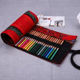 Harga PAlight 36 Holes Rolling Up Colored Pencil Canvas Bags (Red)