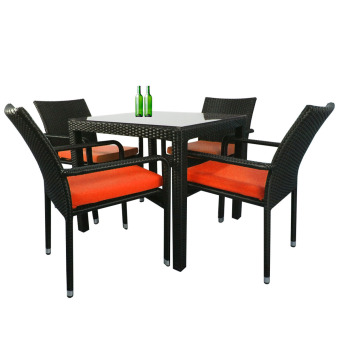 Harga Arena Living Palm 4 Chair Dining Set, Orange Cushion