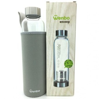 Harga Wenbo Glass Drinking Bottle-550ml Tea Filter(Grey)