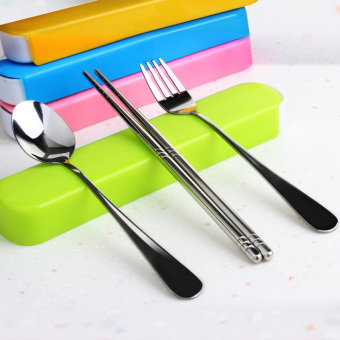 Harga Travel student chopsticks spoon fork suit portable tableware three sets of portable cutlery box portable tableware