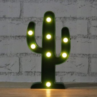 Harga 3W Cactus LED Night Light Lamp For Home Garden Cocktail Party,2AA battery operated (Warm Light)