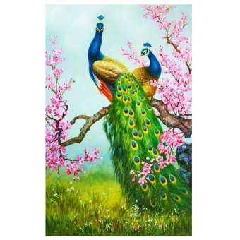 Harga DIY 5D Diamond Painting Cross Stitch Peacock Home Decor - intl