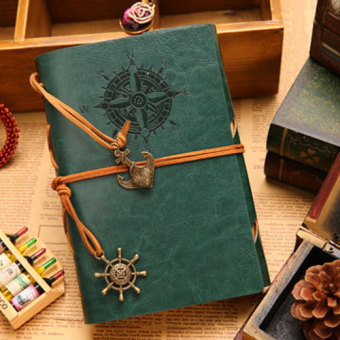 Harga Maritime Travel imitation leather retro A5 loose-leaf notebook / pirate retro notepad(Green)