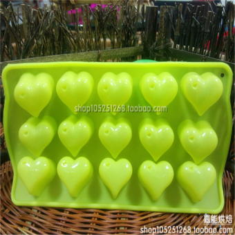 Harga 15 holes silicone cake mold heart left chocolate handmade diy jelly pudding mold high temperature resistance/