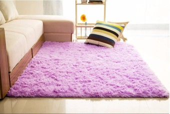 Harga 80x200cm Fluffy Rugs Anti-Slip Shaggy Area Mats Dining Room Bedroom Floor Carpet Purple - intl