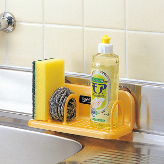 Inomata kitchen scouring pad shelf