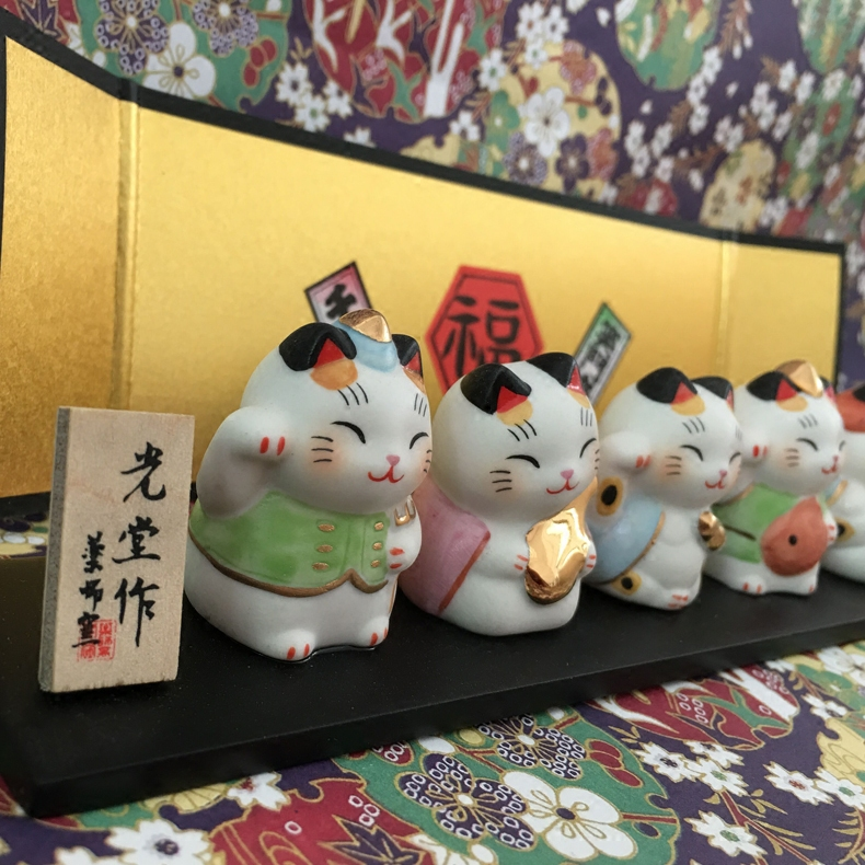 Japan Imported Pharmacist Kiln Seven Mascot Lucky Cat OrnamentsLarge Opening Birthday Wedding To Send A Friend