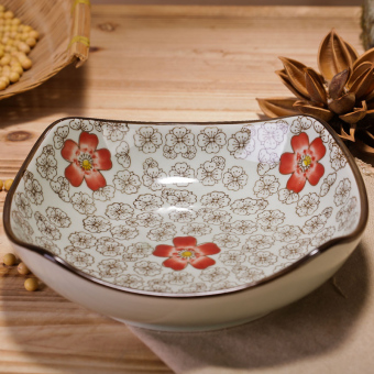 Japanese-style glazed hand-painted plate