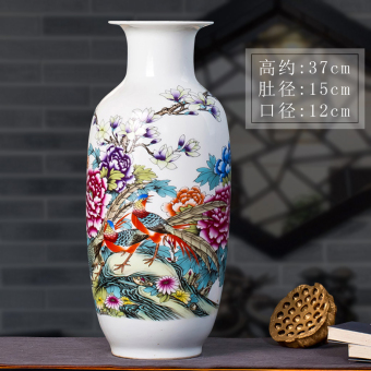 Jingdezhen Ceramic vase ornaments living room flower vase lucky bamboo large flower modern Chinese home decorations