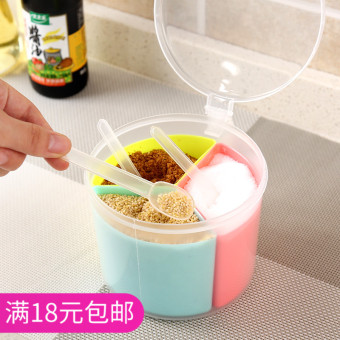 Kitchen round multi-grid seasoning box home plastic Pepper cans salt and pepper MSG seasoning tank salt shaker seasoning cans