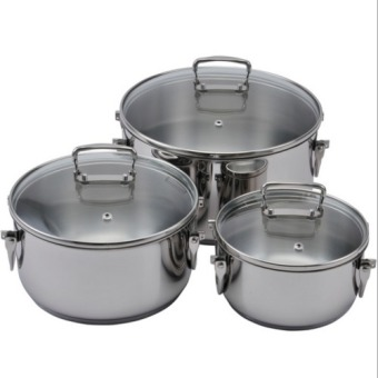 Harga LAMART Stockage Stainelss Steel Folding Cookware set- 6pcs