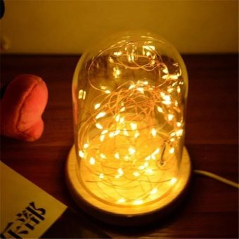 Led luxury glass bell jar dome with string light table lamp led luxury glass bell jar dome with string light table lamp christmas decoration intl aloadofball Image collections