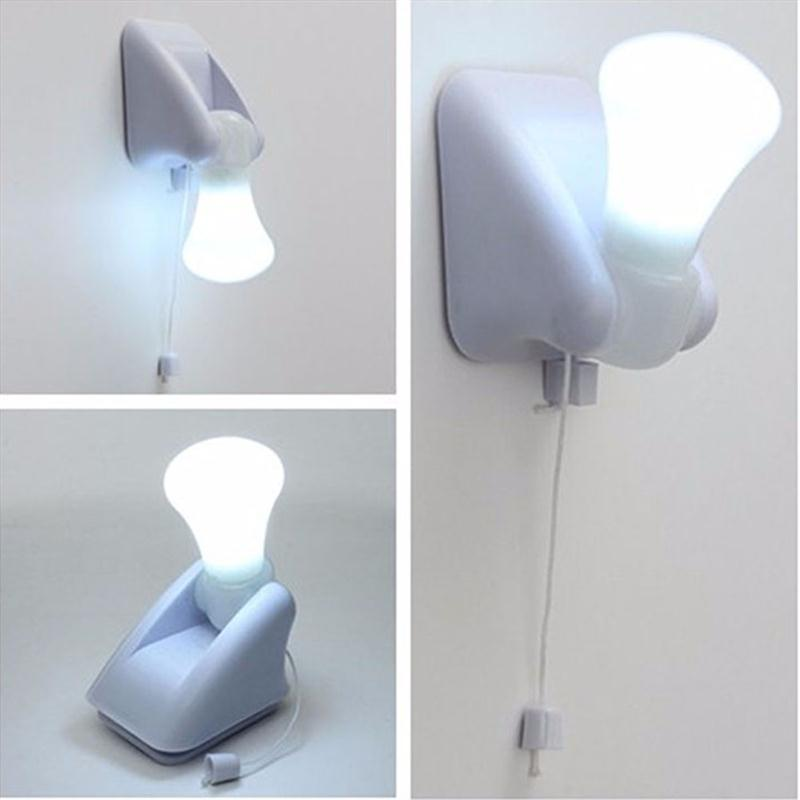 LED Wall Lamp Handy Bulb Stick Up Pull Chain Battery Powered Mount Lamp