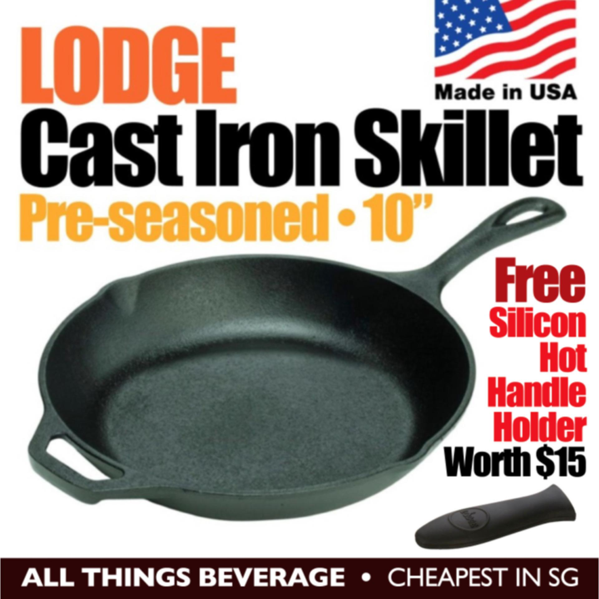 Lodge Cast Iron Round Skillet Grill Pan Pre Seasoned 10 25cm Free Silicon Hot Handle Holder