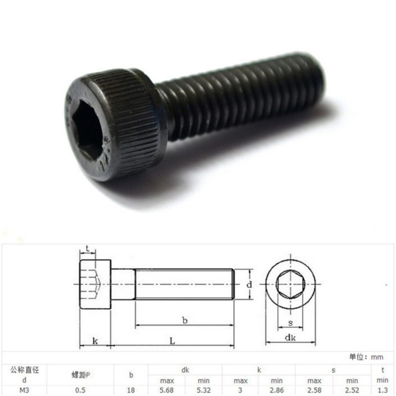 M3 Stainless Steel Allen Hex Socket Button Head Screw Round Head 5mm - intl