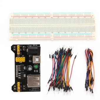 MB102 Power Supply Module 3.3V 5V+830 Point Breadboard Board +65PCS Jumper cable