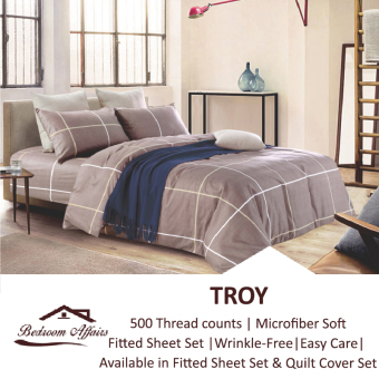 Harga MICROFINE Troy Fitted Sheet Set