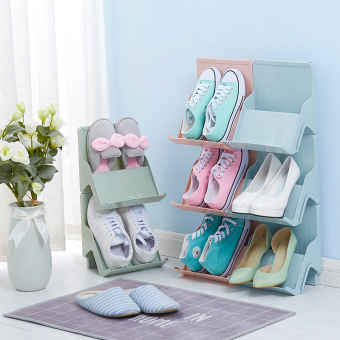Modern can be superimposed multi-function plastic shoe rack