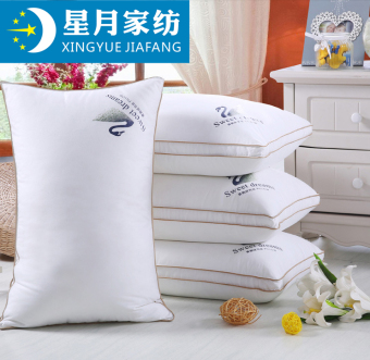Moon and stars textile Cotton Satin feather velvet pillow five-star hotel single neck soft pillow single pillow