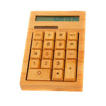 Natural Handmade Crafted Bamboo Solar Power Calculator 12 Digits Display - intl