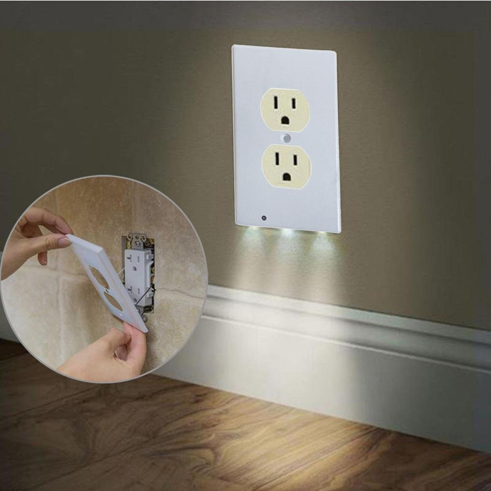 Niceeshop Outlet Wall Plate With Led Night Lights No Wires Or