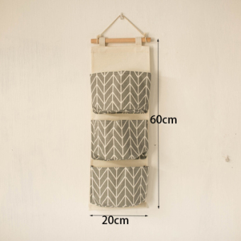 Nordic Jianyue cotton linen wall hanging dormitory storage bag