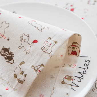 Nordic style small Fresh cat Linen tablecloth home dining table cloth table runner bed flag coffee Hall cover towel
