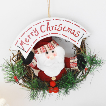 Nuo 20cm plush Christmas rattan ring doll Christmas wreath