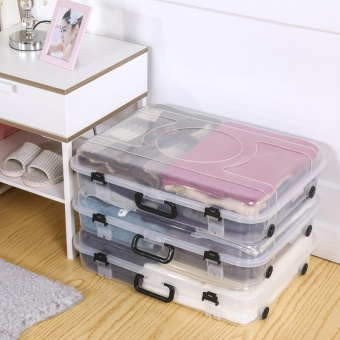 OJ transparent flat bed storage box box under the bed clothes pulley toy box portable storage box - intl - 2