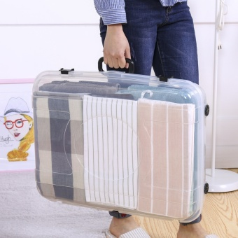 OJ transparent flat bed storage box box under the bed clothes pulley toy box portable storage box - intl - 3