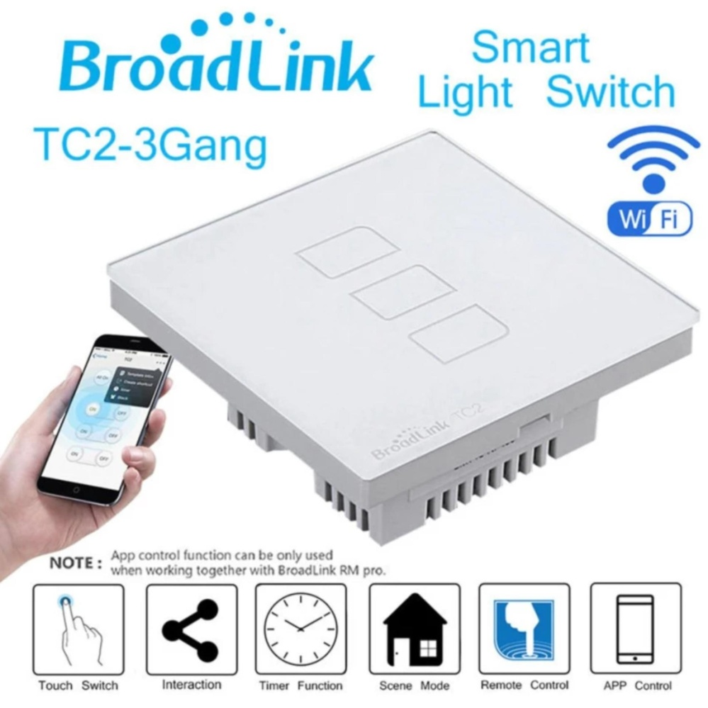 Original Broadlink Tc2 3 Gang Smart Home Automation Mobile Wireless Light Switch Panel Remote Control Touch