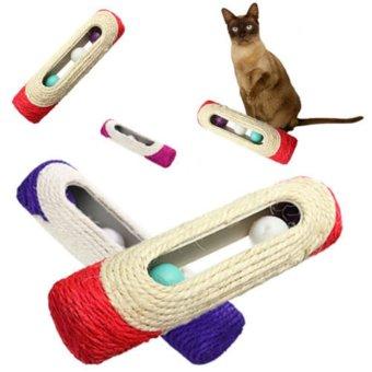 Pet Cat Kitten Kitty Toy Rolling Sisal Scratching Post Trapped BallTraining - 3