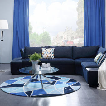Plaid living room bedroom bedside study round blue carpet