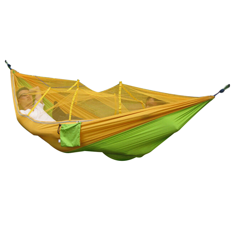 Portable Outdoor Hammock Mosquito Net Bed (Yellow+Green)