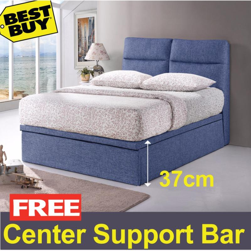 Queen size * Valentino Storage Bed Frame * 14-inch Depth * Fabric Upholstery * Dark Blue color  * Free Delivery.